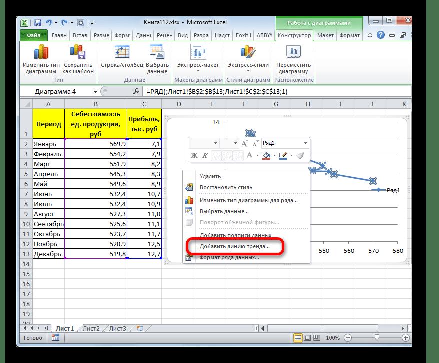 Добавление линии тренда через контекстное меню в Microsoft Excel