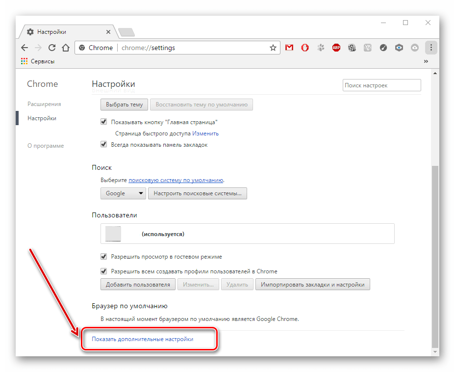 Дополнительные настройки в Google Chrome