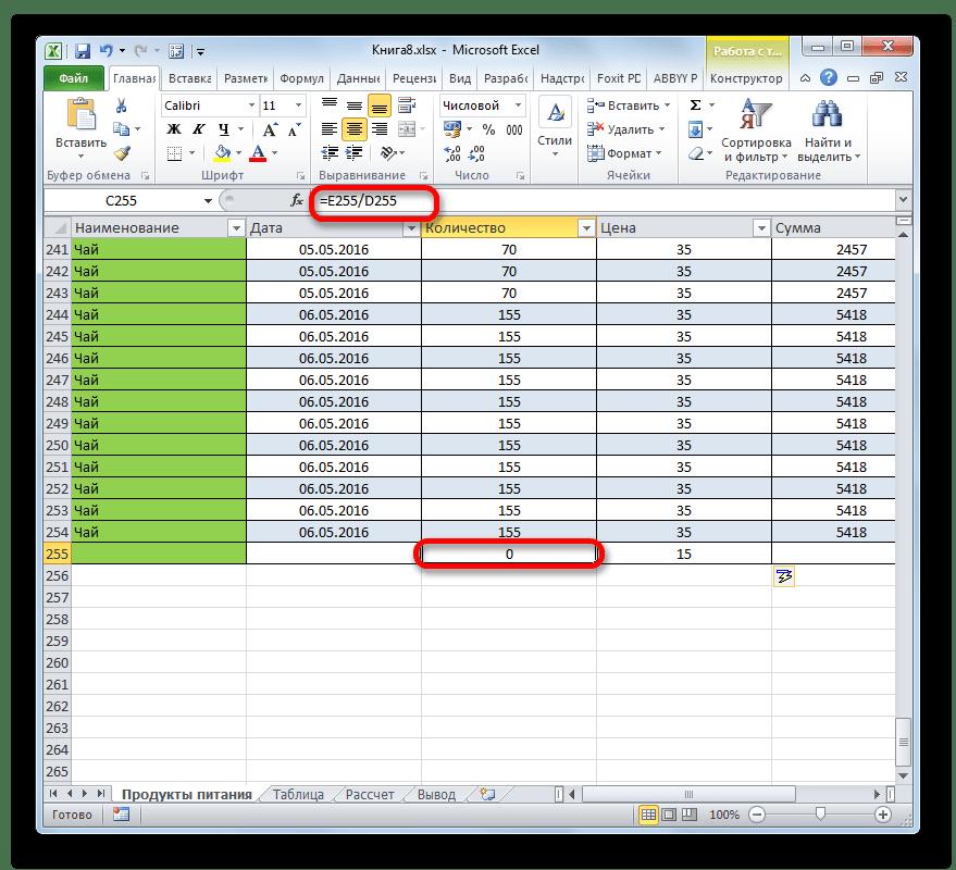 Формула подтянулась в новую строку таблицы в Microsoft Excel