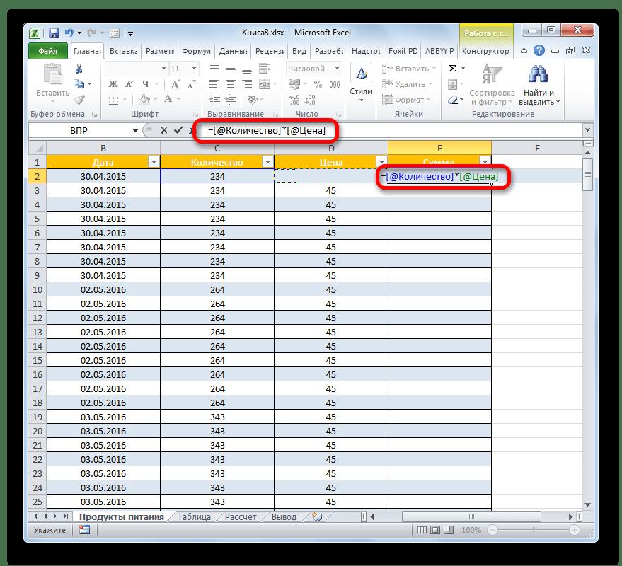Формула умной таблицы в Microsoft Excel