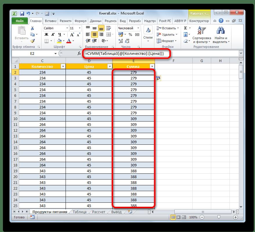 Функция в Умной таблице в Microsoft Excel