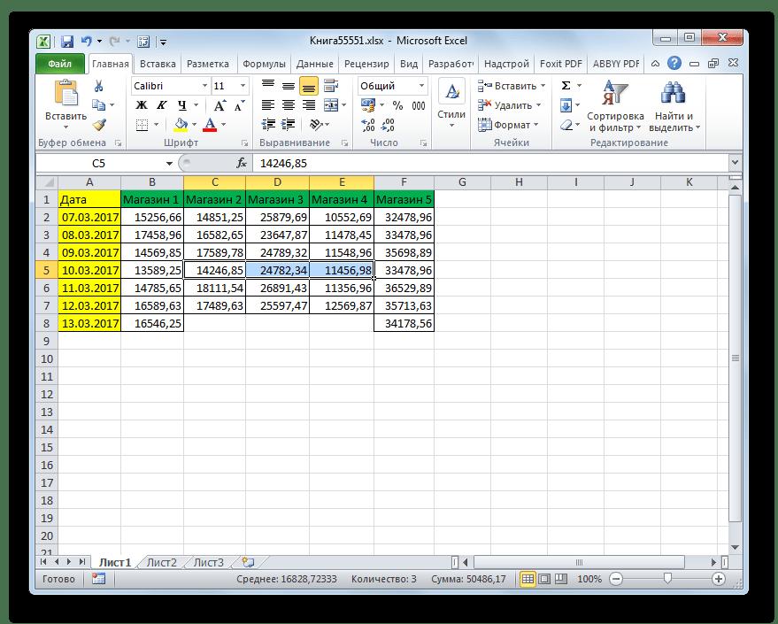 Горизонтальная группа ячеек удалена через кнопку на ленте в Microsoft Excel