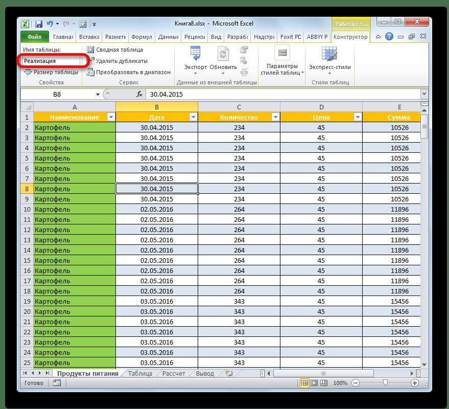 Имя таблицы изменено в Microsoft Excel
