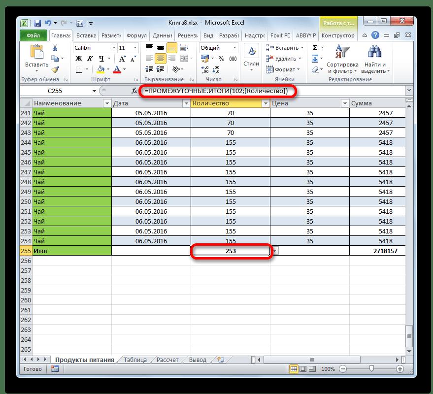 Количество чисел в Microsoft Excel