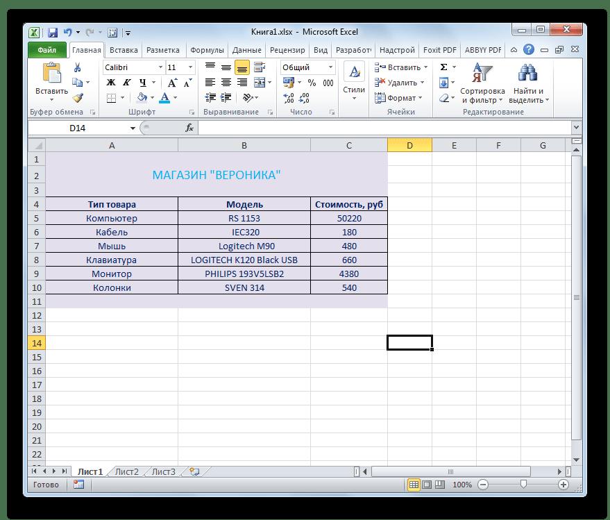 Модель и тип товара разделены в Microsoft Excel