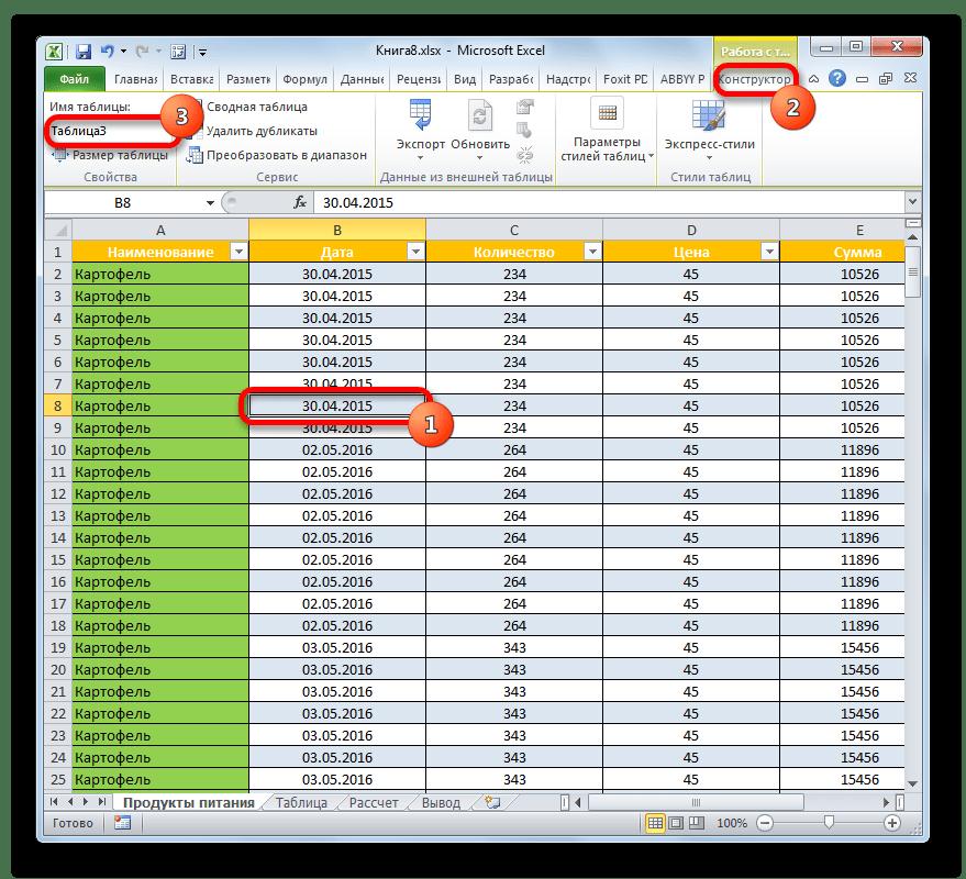 Наименование таблицы в Microsoft Excel
