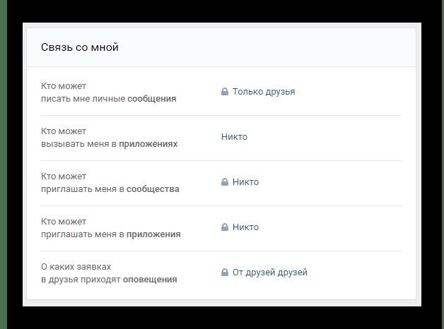 Настройки связь со мной в настройках приватности ВКонтакте