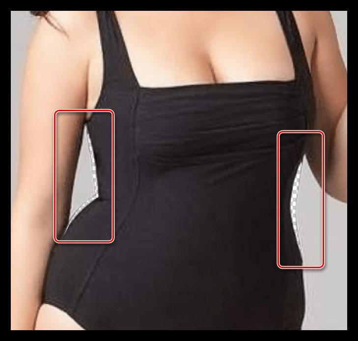 Недостатки инструмента Деоформация при уменьшении талии в Фотошопе