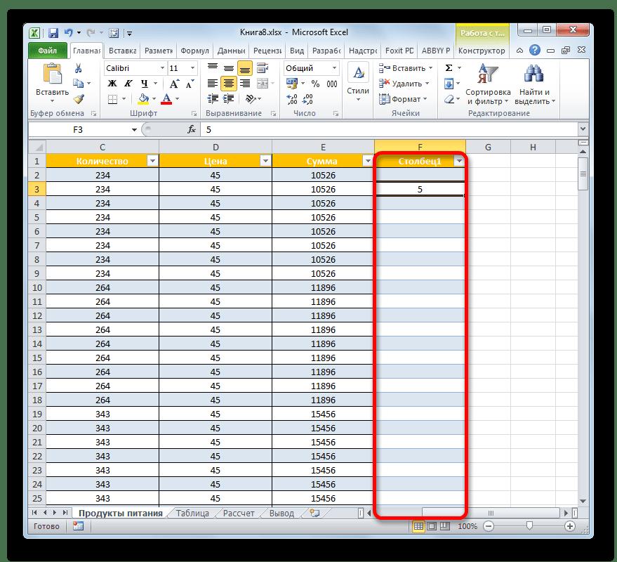 Новый столбец включен в состав таблицы в Microsoft Excel
