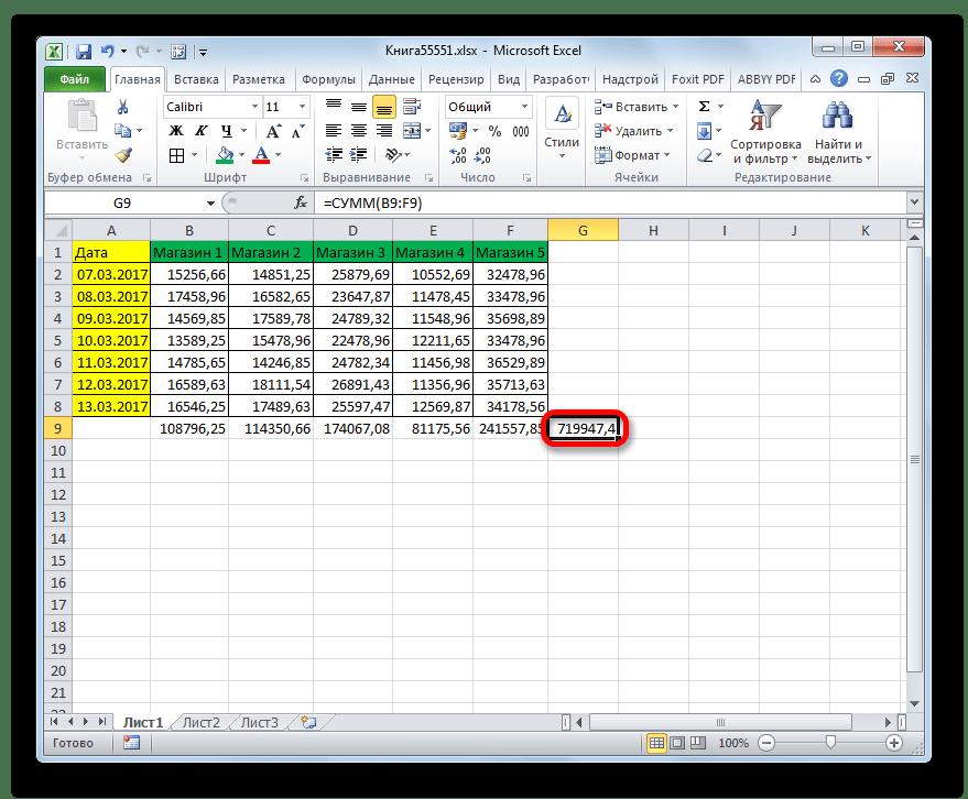 Общая сумма по всем магазинам в Microsoft Excel