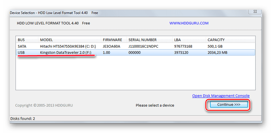 Окно HDD Low Level Format Tool