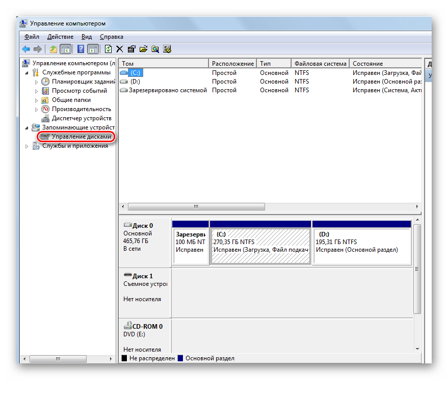 Окно Управление дисками в Windows