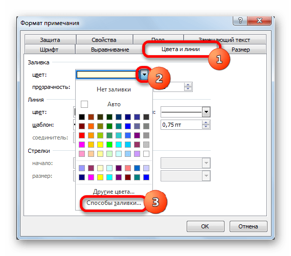 Окно формата примечания в Microsoft Excel