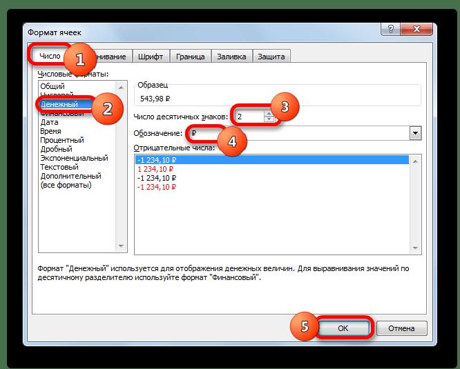 Окно форматирования ячеек в Microsoft Excel