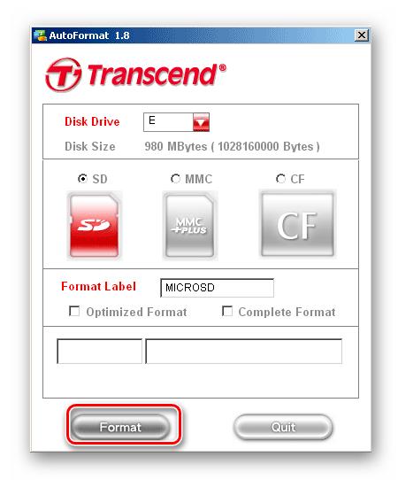 Окно программы Transcend Autoformat