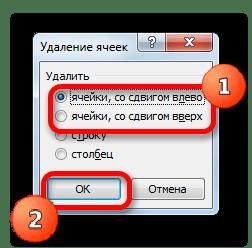 Окно удаления ячеек запущенное с помощью горячих клавиш в Microsoft Excel
