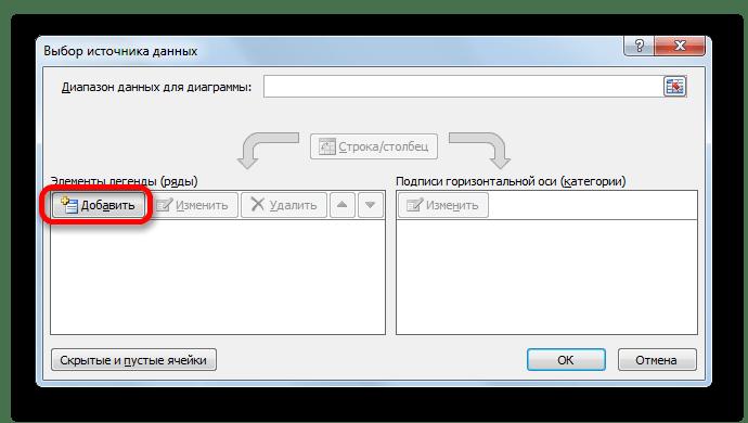 Окно выбора источника ряда в Microsoft Excel