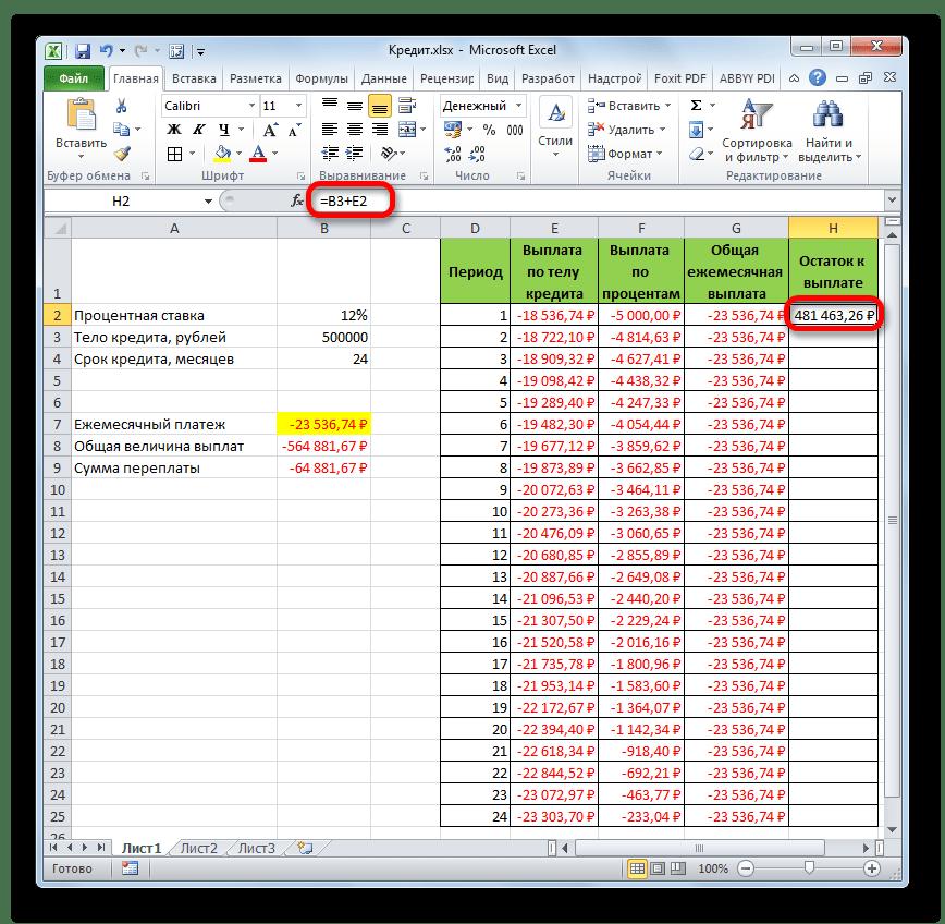 Остаток к выплате после первого месяца кредитования в Microsoft Excel