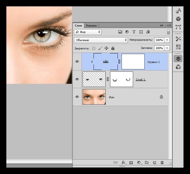 Палитра слоев после процедуры осветления при выделении глаз в Фотошопе