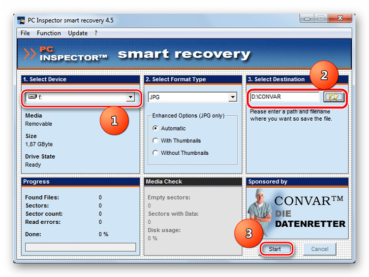 Параметры программы PC Inspector Smart Recovery