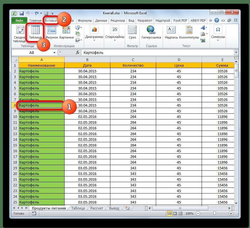 Переформатирование диапазона в Умную таблицу через вкладку Вставка в Microsoft Excel