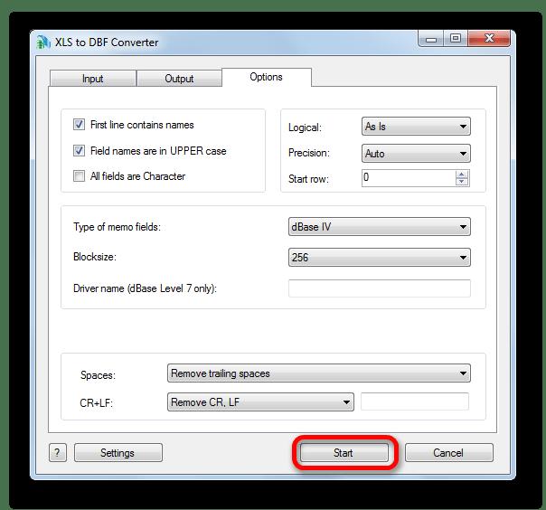 Переход к процедуре конвертации в XLS to DBF Converter