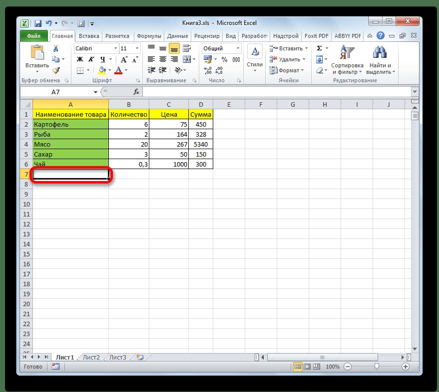 Первая ячейка под таблицей в Microsoft Excel