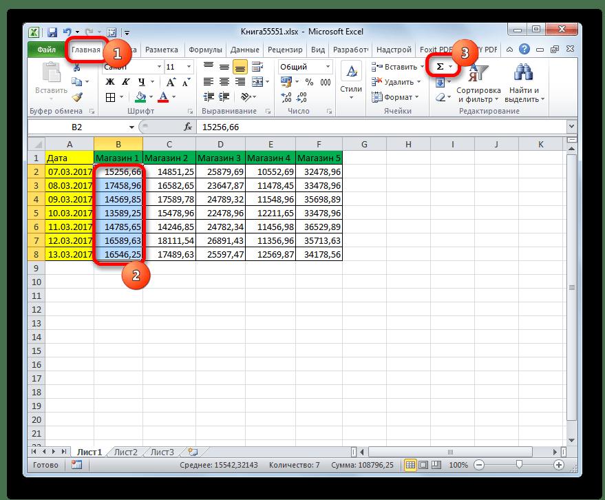 Подсчет автосуммы для Магазина 1 в Microsoft Excel