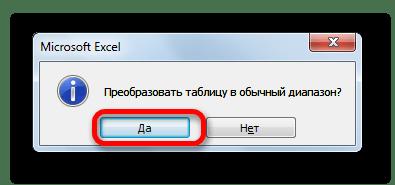 Подтверждение преобразования таблицы в диапазон в Microsoft Excel