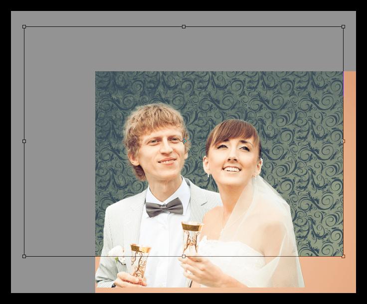 Помещение текстуры обоев на документ при украшении фотографии в Фотошопе