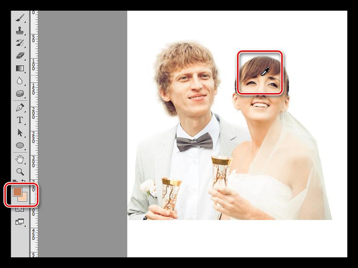 Проба темного оттенка инструментом Пипетка при украшении фотографии в Фотошопе