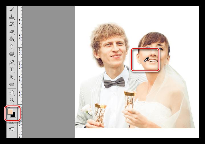 Проба цвета инструментом Пипетка при украшении фотографии в Фотошопе