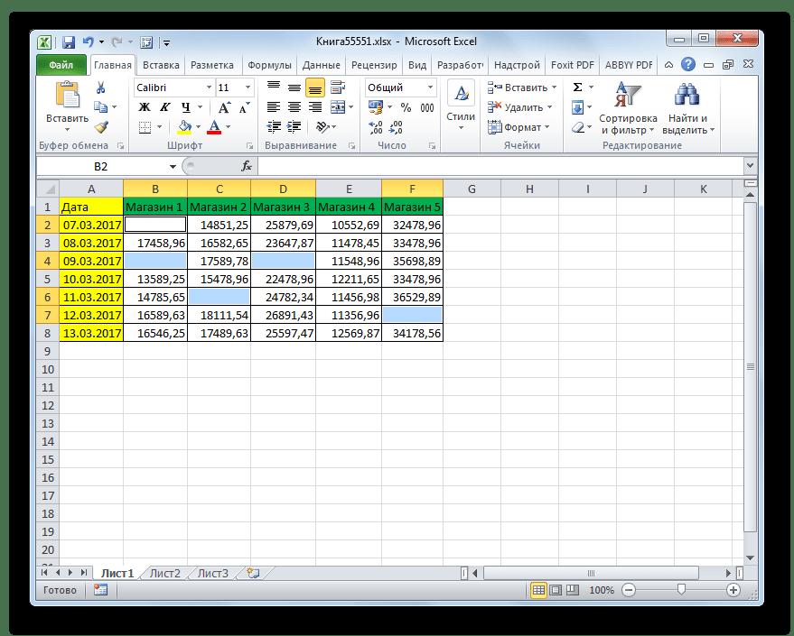 Пустые ячейки выделены в Microsoft Excel