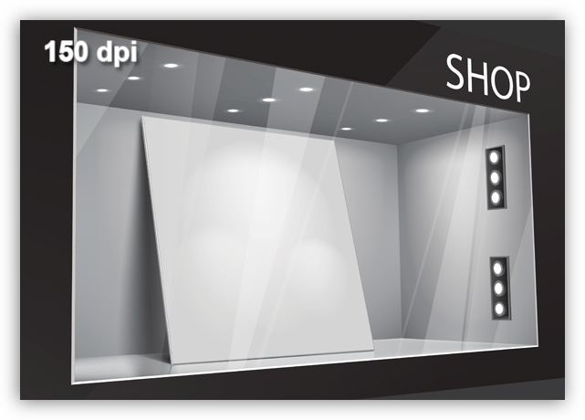 Рекомендуемое разрешение для витрин магазинов равное 150 точек на дюйм в Фотошопе