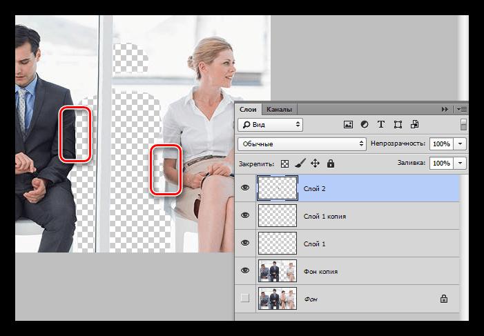 Результат восстановления мелких участков изображения инструментом Штамп в Фотошопе