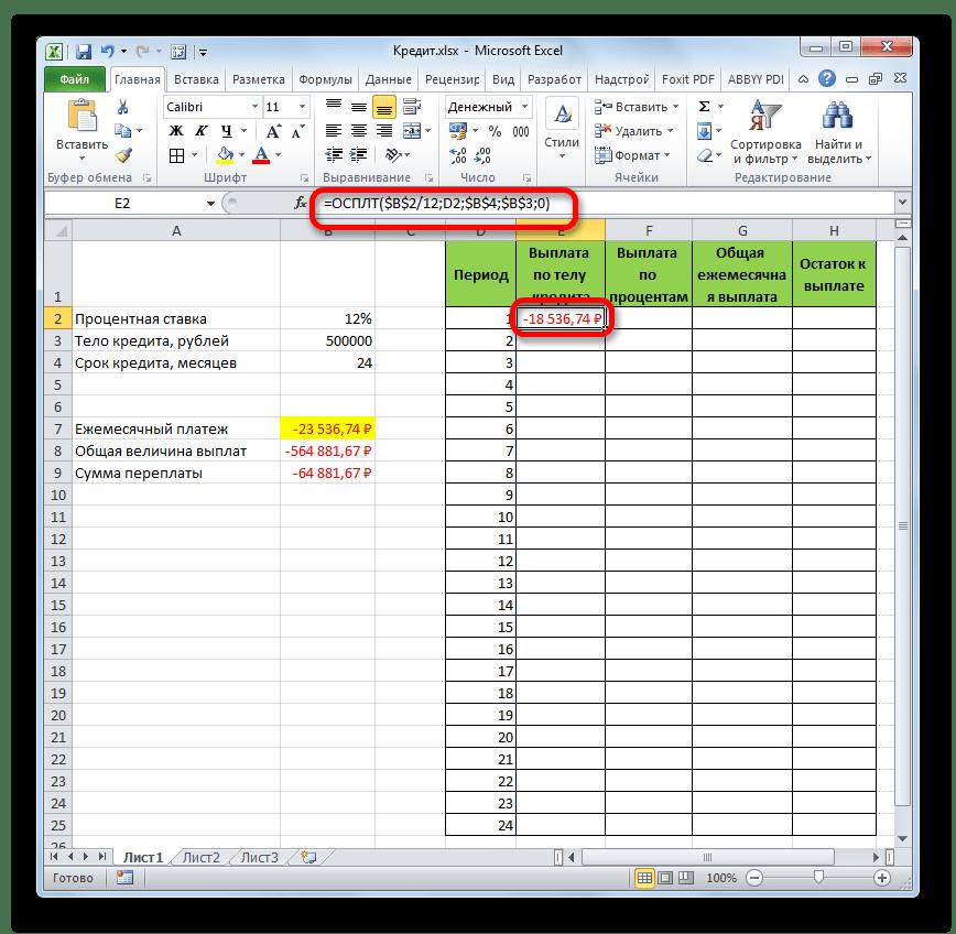 Результат вычисления функции ОСПЛТ в Microsoft Excel