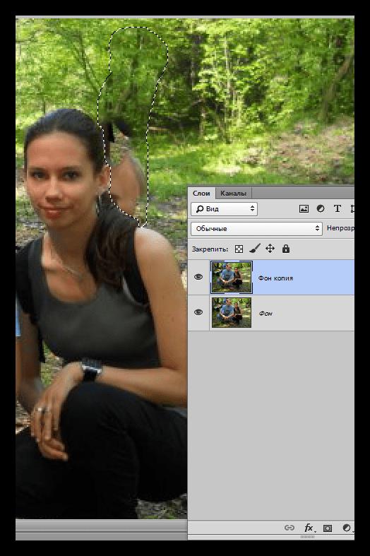 Результат заливки с учетом содержимого отдельно сдоящего персонажа в Фотошопе
