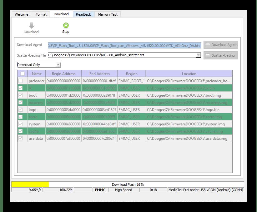 SP Flash Tool прошивка прогресс