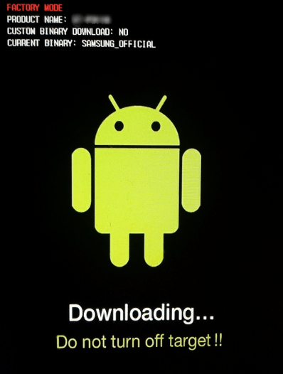 Samsung downloading Do not turn the target