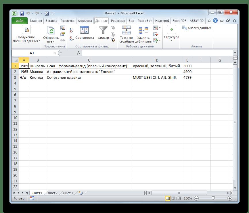 Содержимое файла CSV встановленно на лист Microsoft Excel