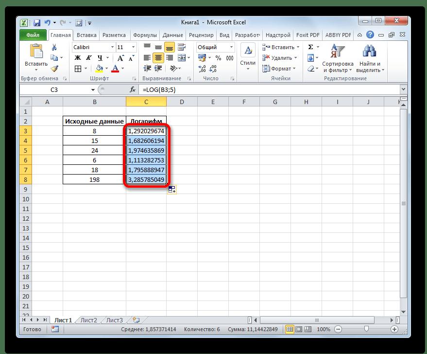 Столбец заполнен результатом вычисления в Microsoft Excel