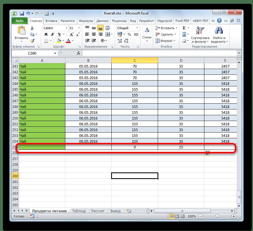 Строка добавлена в таблицу в Microsoft Excel