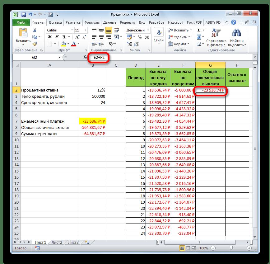 Сумма общего ежемесячного платежа в Microsoft Excel