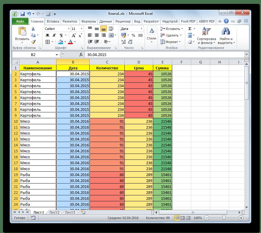 Таблица с обновленным форматированием в Microsoft Excel