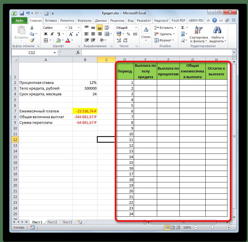 Таблица выплат в Microsoft Excel