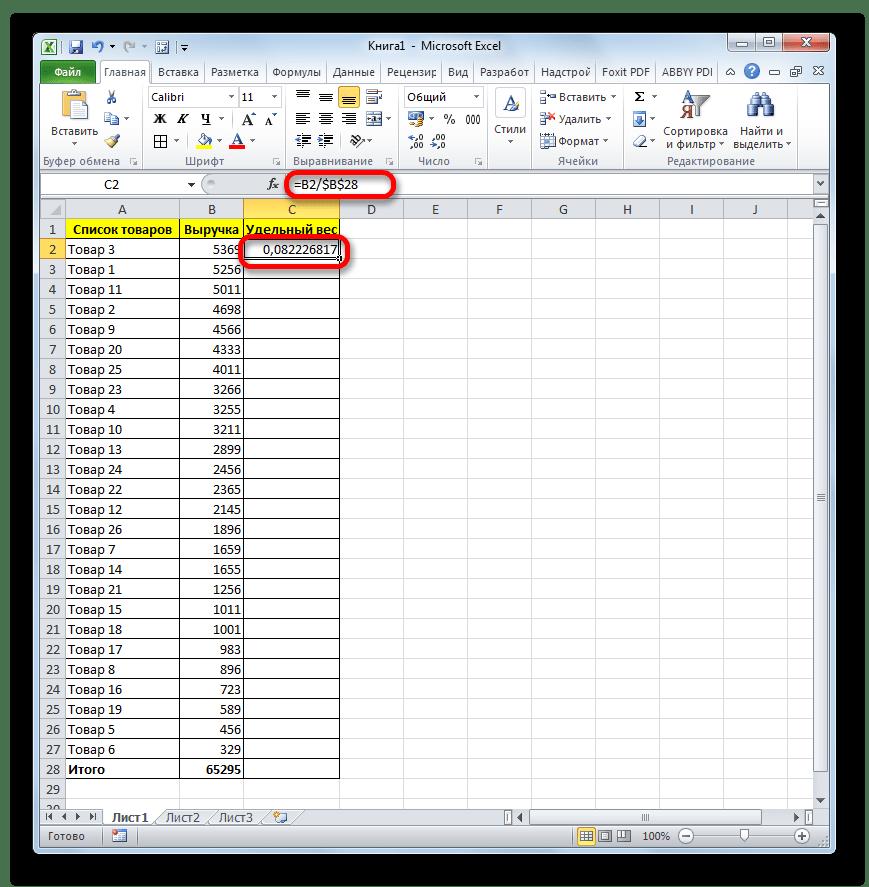 Удельный вес для первой строки в Microsoft Excel