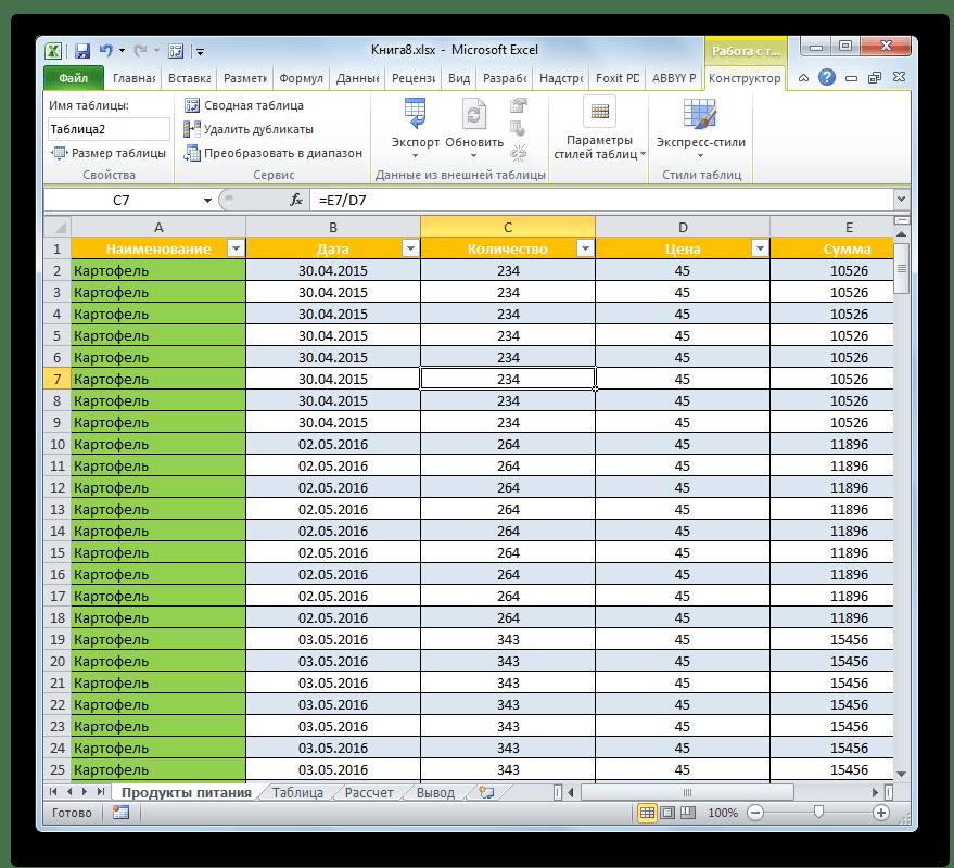 Умная таблица создана в Microsoft Excel