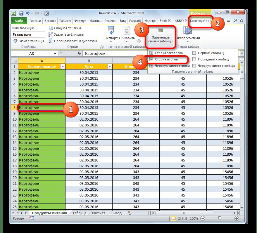 Установка строки итогов в Microsoft Excel