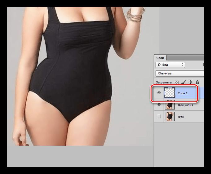 Устранение мелких дефектов инструментом Штамп при уменьшении талии в Фотошопе