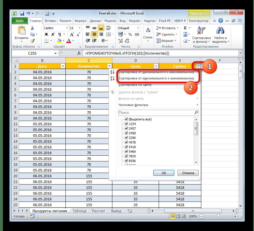 Варианты сортировки для числового формата в Microsoft Excel